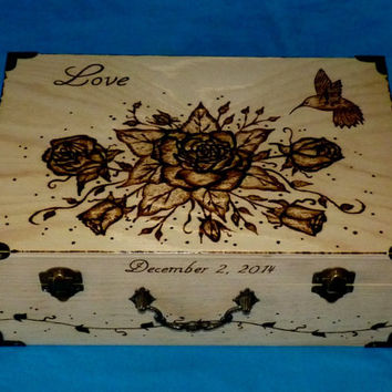 Decorative Wood Burned Wedding Keepsake Box Suitcase Box Large Wedding Tree Guest Book Box Hummigbird Bible Scripture Verse Personalized