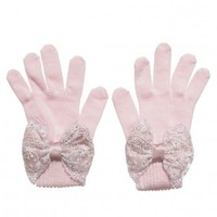 Girls Pink Gloves With Lace Bow