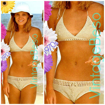 EASY Bikini Crochet Pattern 70s Swimsuit Crochet Pattern Retro Ladies Bikini Bra Top Pattern Panty Brief Pants Instant Download PDF Pattern