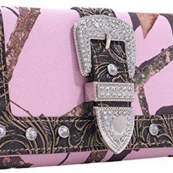Emperia Womens Julia Mossy Oak Ladies Trifolded Buckle Wallet with Rhinestones