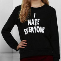 "Black "" I HATE EVERYONE"" Tee Sweater"