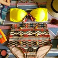 Yellow Bohemian Print High Waisted Swim Suit