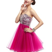 Cocomelody Shining Sequin Sweetheart Short Tulle Cocktail Party Dress E23031