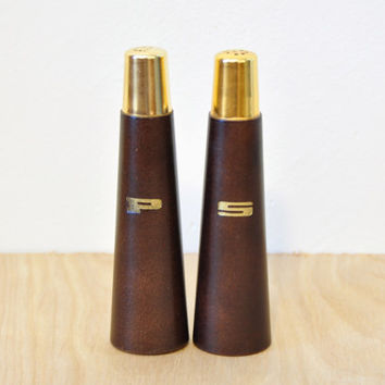 Vintage Mid Century Modern Wood Salt and Pepper Shakers