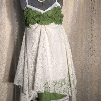 N.C.N. Clearance Upcycled Repurposed Boho Dress Green / White M-L Upcycled Boho Chic Dress / Bohemian Dress / Romantic Prairie Artsy Dress