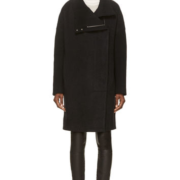 Helmut Lang Black Oversized Wool Coat