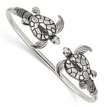 Sterling Silver Antiqued Sea Turtle Flexible Bangle Bracelet