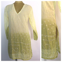 Light Green Kurta, Indian Tunic, Sequined Green Tunic, Hand Dyed Tie Dye India Tunika Yellow Green Boho India V Neck vintage hippie shirt  M