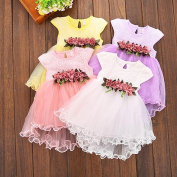 Kids Dresses for Girls Lace Tulle Flower Dress Princess Big Bow Ball Gown Party Wedding Bridesmaid Tulle Dresses
