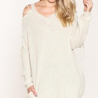Laced-Up Open-Shoulder Sweater (Cream)