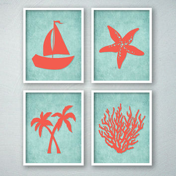 Tropical Bathroom Art - Tropical Bath Prints - Beach Bathroom Wall Art - Beachy - Saiboat Palm Trees Starfish Coral - Aqua Bathroom Decor