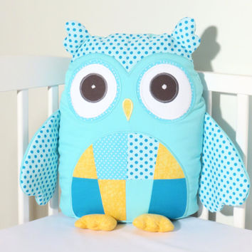 Stuffed Owl, Modern Custom Owl Pillow Case and Cushion, Plush Owl Toy, Aqua Yellow
