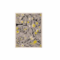 "Laura Nicholson ""Blackbirds On Gray"" Gray Yellow KESS Naturals Canvas (Frame not Included)"