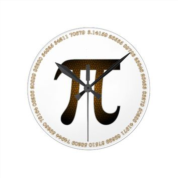 Brown Chocolate Pi Acrylic Wall Clock in White