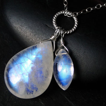 Rainbow Moonstone Necklace, AAAA Grade Moonstone, Sterling Silver - Two Moons by CircesHouse on Etsy
