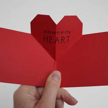 POP UP heart - Love card, Valentine's Day Card - For Him, For her or for a friend