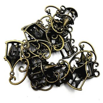 ac spbest 10Pcs Antique Bronze Tone Canary Bird In The Cage Anima Metal Charms Pendants For Necklaces Accessories DIY Jewelry Finding 33mm
