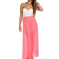 WhiteNeon Pink Strapless Lace Maxi Dress