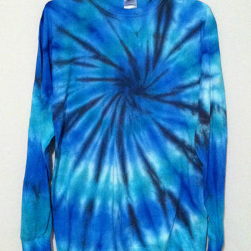 Tie Dye Long Sleeve Shirt - Blue Spiral - 100% Cotton - Mens T-Shirt