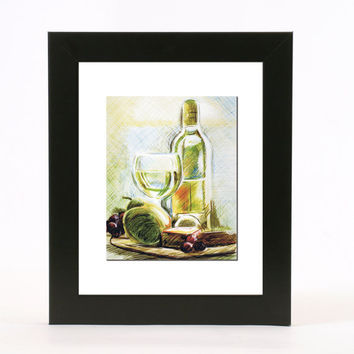 wine and cheese line drawing with pen and colored ink 8x10 abstract wall art print