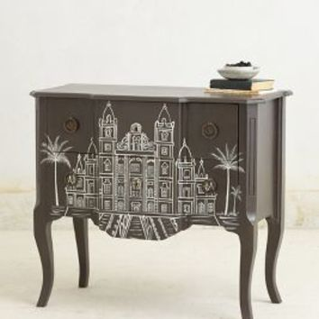 Handpainted Architecture Chest by Anthropologie Dark Grey One Size House & Home