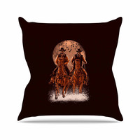 "BarmalisiRTB ""Come At Night"" Brown Orange Outdoor Throw Pillow"