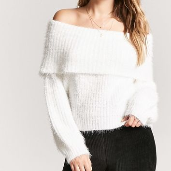 Off-the-Shoulder Fuzzy Sweater
