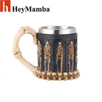 HeyMamba Halloween Gift 3D Skull Resin Stainless Steel Beer Mug Goblet Funny Wine Coffee Cup Zakka Novelty Pub Bar Decoration