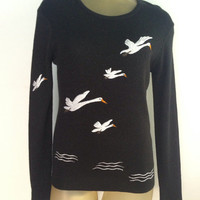 Flying Geese Sweater Long Sleeve Sparkly Vintage Black Sweater, Silver White Birds Across Front, Arm.  Scoop Neck Slightly Sheer Fun Sweater
