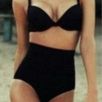 Black Retro High Waist Bikini Set