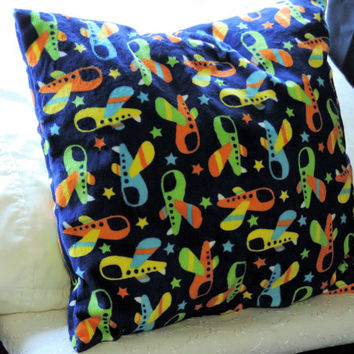 MINKY SPACE SHIP Pillow, Soft Minky Pillow, Fiber Filled Boys Pillow, Baby Boy Room Accessory, Colourful Minky Pillow, 16 in. sq. Home Decor