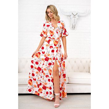 Always In Love Floral Wrap Dress (Ivory)