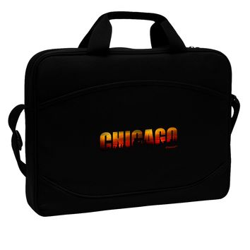 "Chicago Skyline Cutout - Sunset Sky 15"" Dark Laptop / Tablet Case Bag by TooLoud"
