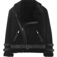 Suede Rabbit Fur Biker Jacket