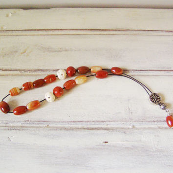 Carnelian worry beads, silver and carnelian worry beads with carved bone and sponge coral beads, Greek komboloi, prayer-mala mixed beads set