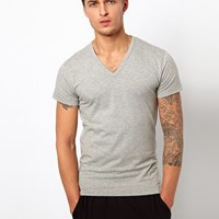 Jack & Jones Intelligence Basic V Neck T-Shirt - Gray