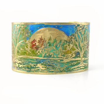 Etched Landscape Cuff Bracelet, Wide Brass Cuff, Etched Metal, Green, Original Design, Nature, Artisan Jewelry, Handmade, Lake Scene, Trees