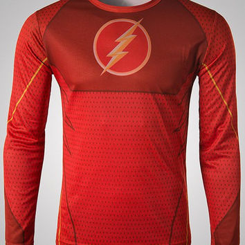 Red Superhero Flash Print Long Sleeve T-Shirt