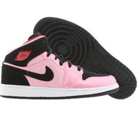 Air Jordan 1 Mid Big Kids (ion pink / black / gym red / white) Shoes 555112-608 | PickYourShoes.com