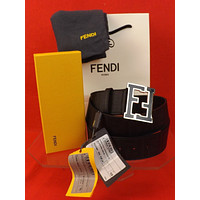 NWT FENDI BLACK COLLEGE LEATHER ZUCCA BLACK FF LOGO BUCKLE BELT 90 36 $550