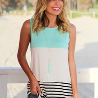 Mint Color Block Tank Top with Crochet Back