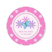 Pink Butterfly and Daisy Save The Date Stickers
