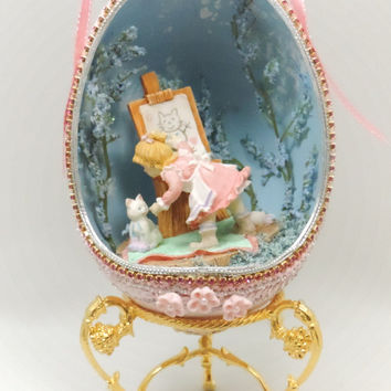 Young Artist with Cat in Miniature Diorama Girl and Cat Scene in Egg Ornament Home Decor Faberge Style Decorated Egg Art