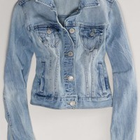 AEO Women's Embroidered Denim Jacket (Medium Wash)