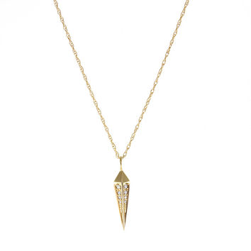 Yellow Gold Spear Necklace With Diamonds