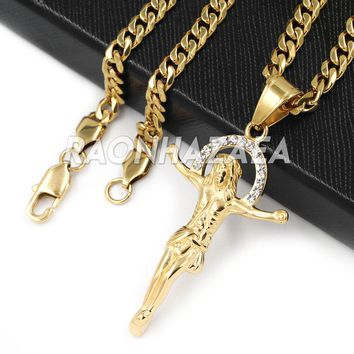 Hip Hop Iced Stainless Steel Gold/Silver Jesus Crucifix Pendant W Cuban Chain