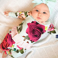 Baby Infant Toddler Clothing Set Rose Flower Print Long Sleeve Tops+Pants Clothes Suit Kids Christmas Outfits