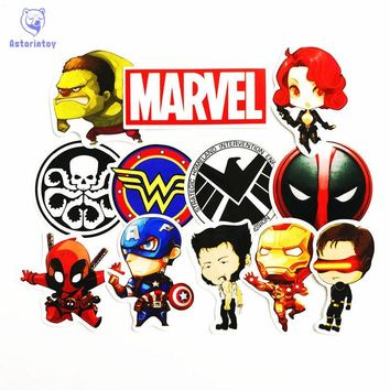 12pcs/lot Avenger Alliance Super Hero Ironman US captain  Notebook refrigerator skateboard trolley case decals backpack Tables