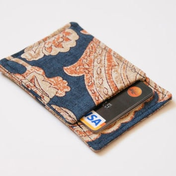 Front pocket wallet - Business card holder - Business card case - Thin wallet - Slim card wallet - Blue Beige Floral - Front Pocket wallet