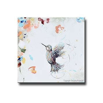 GICLEE PRINT Art Abstract Floral Painting Hummingbird Flowers Blue White Rose Gold Pink Wall Art Home Decor